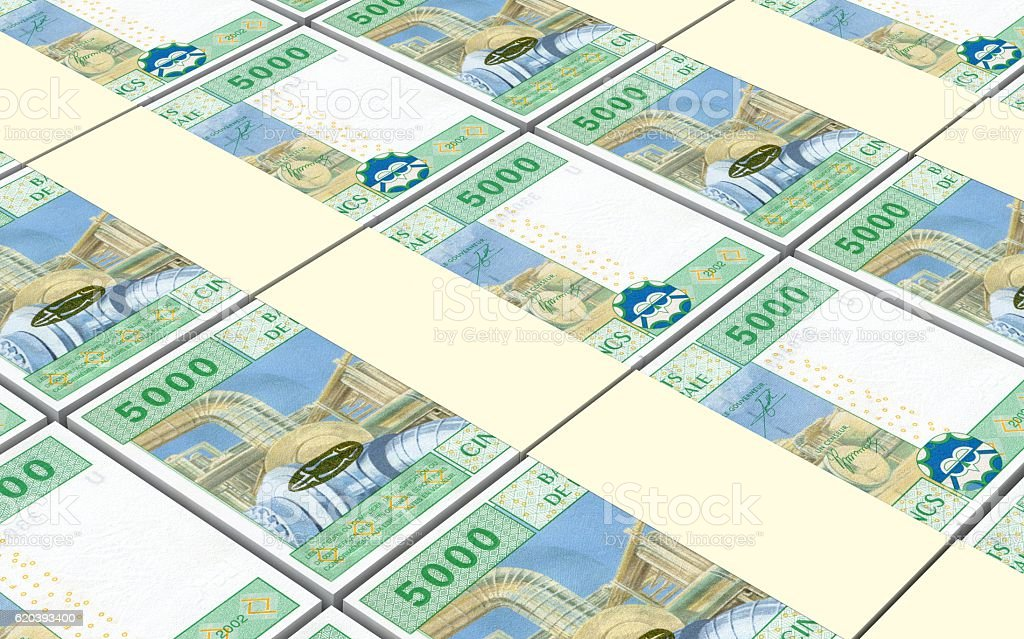 Central African CFA francs bills stacked background. stock photo