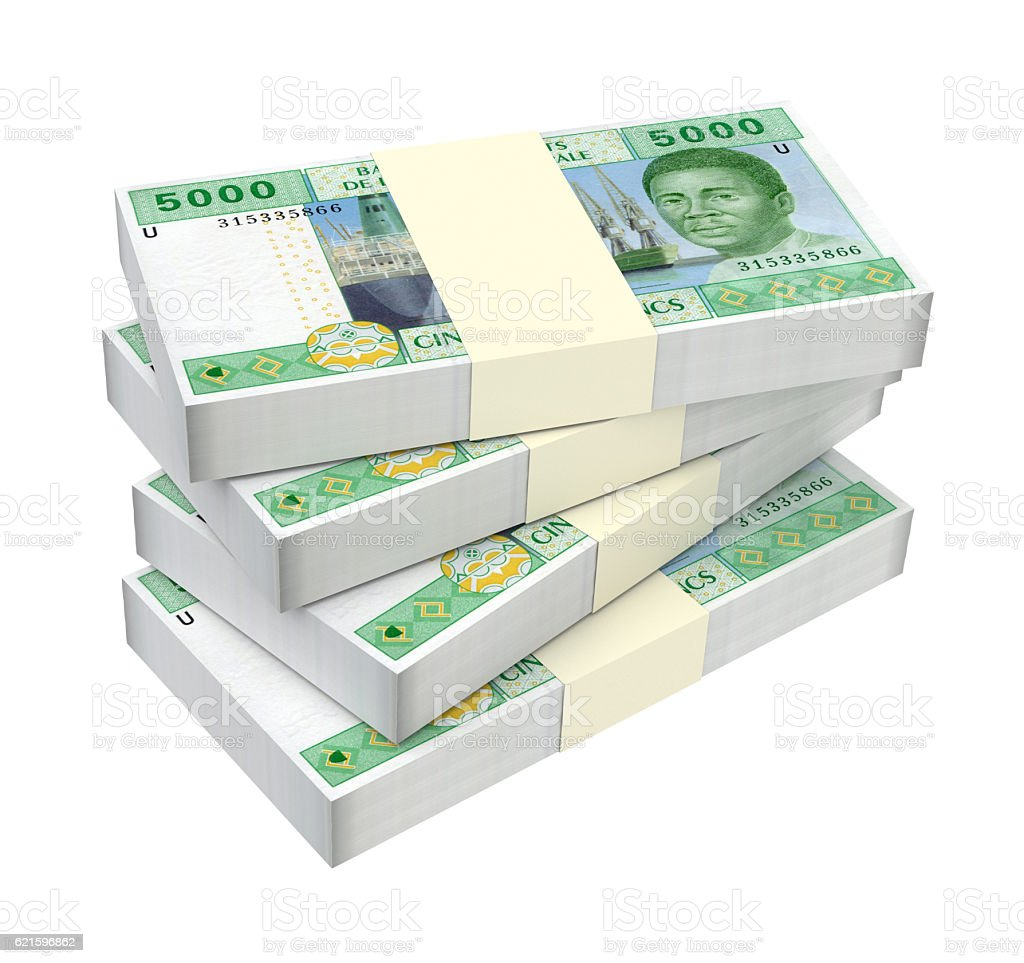 Central African CFA francs isolated on white background. stock photo