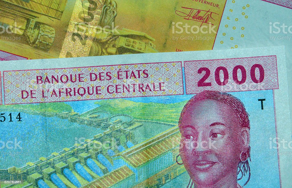 Central African CFA Francs (XAF currency code) stock photo