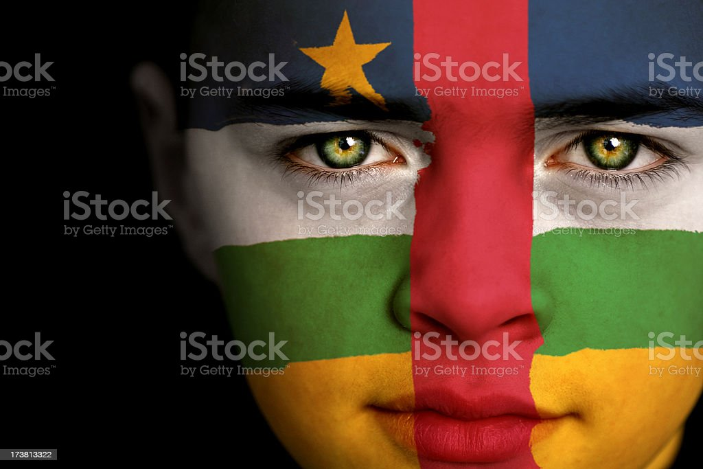 Central African Republic flag boy stock photo