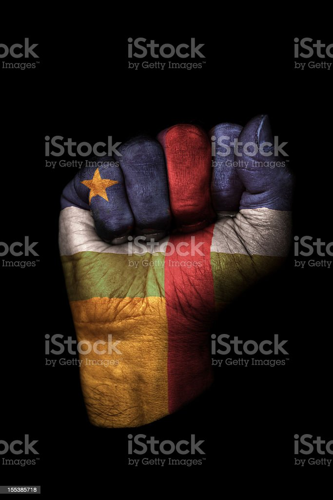 Central African Republic Flag Fist stock photo