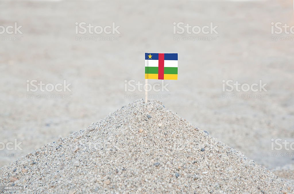 Central African Republic Flag on the Beach stock photo