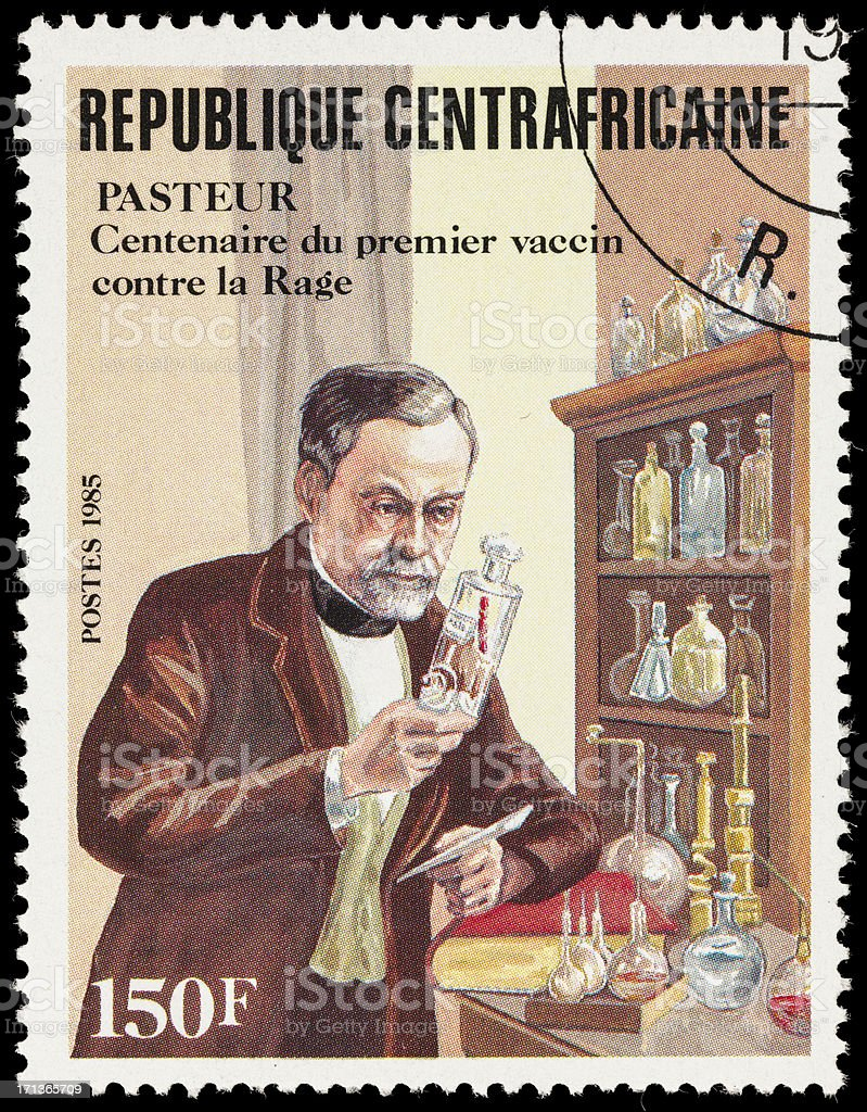 Central African Republic Louis Pasteur postage stamp stock photo