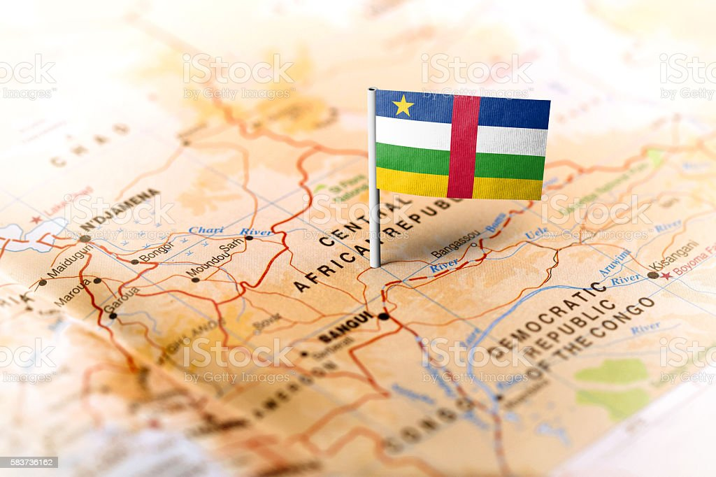 Central African Republic pinned on the map with flag stock photo