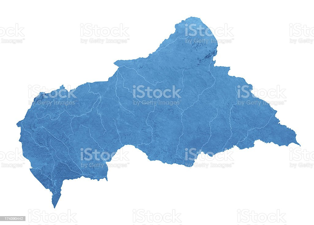 Central African Republic Topographic Map Isolated stock photo