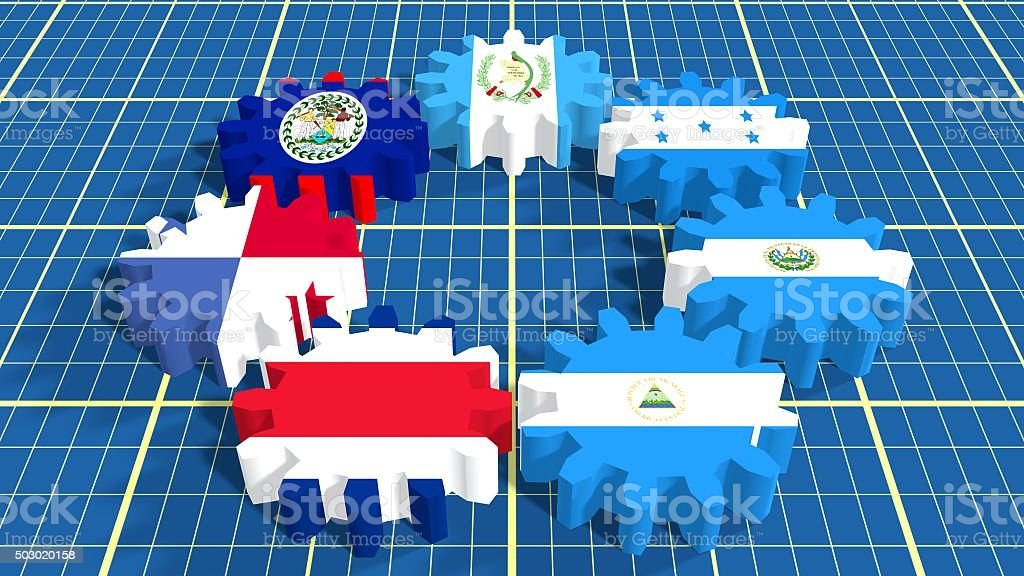 Central American Common Market members national flags on gears stock photo