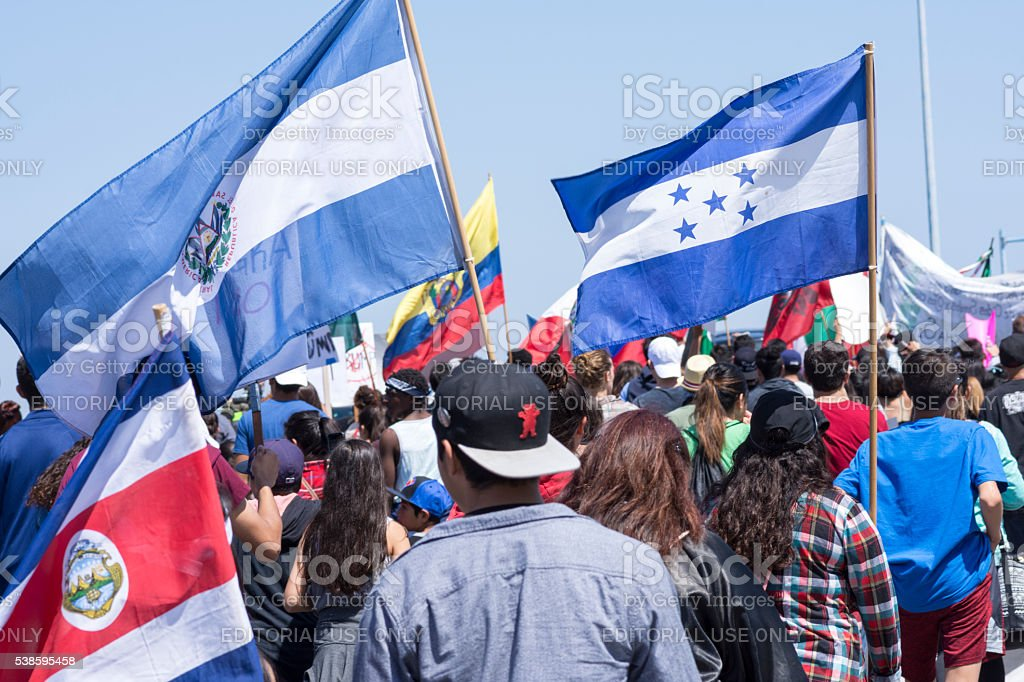 Central Americans against Donald Trump stock photo