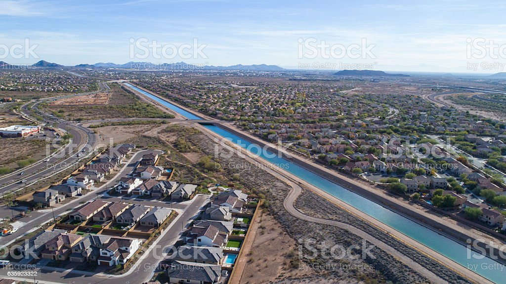 Central Arizona Project (CAP) Canal, Phoenix, AZ 12/14/16 stock photo
