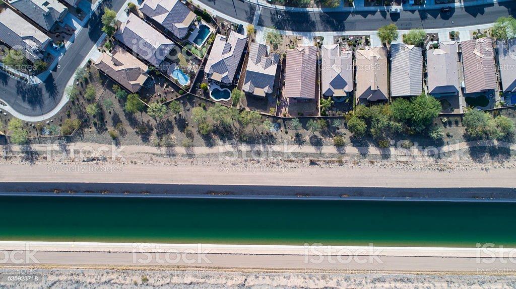 Central Arizona Project (CAP) Canal, Phoenix, AZ 12/14/16 stock photo