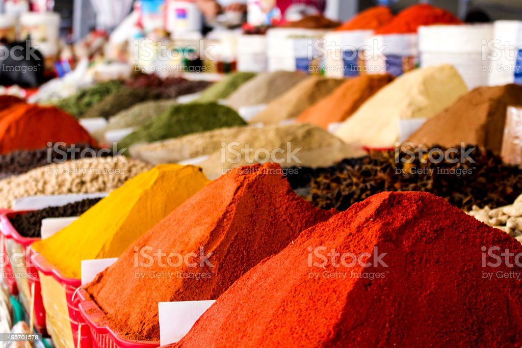 Central Asian Spice Market stock photo