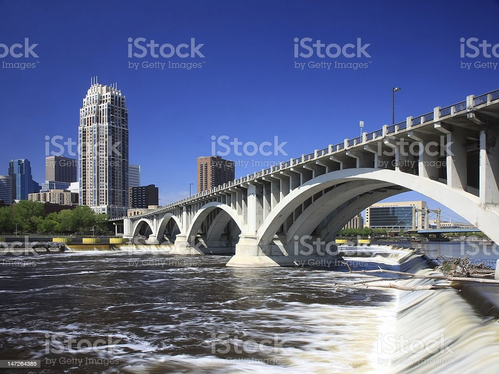 Central Ave bridge in downtown Minneapolis royalty-free stock photo