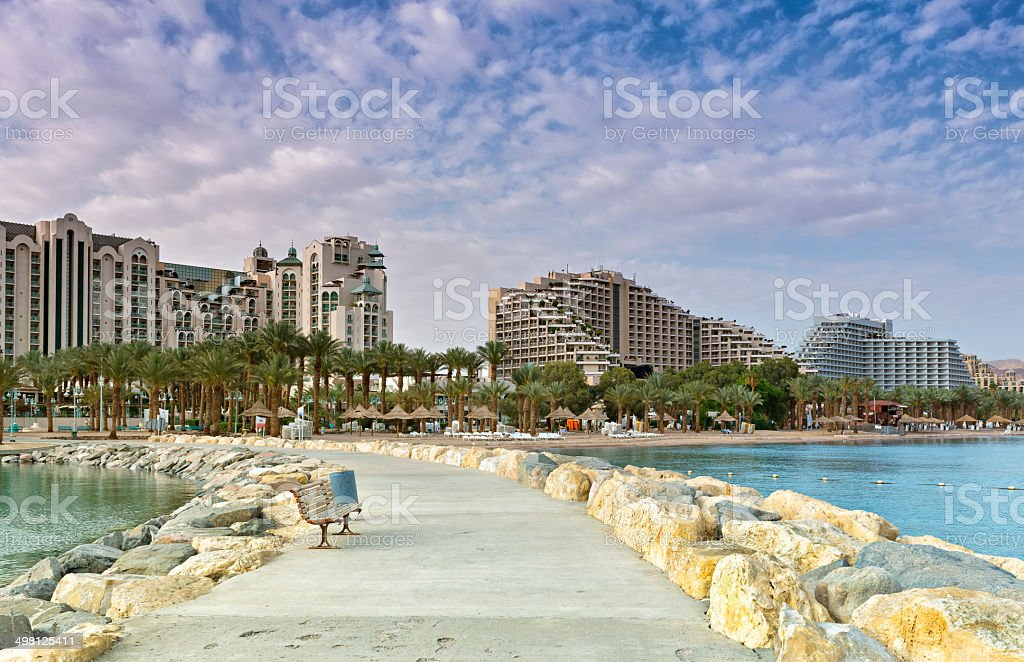 Central beach and promenade of Eilat, Israel stock photo