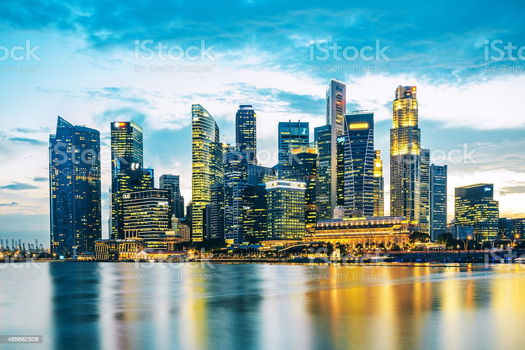 Central Business District in Singapore at dusk stock photo