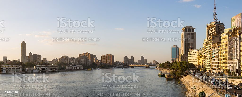 Central Cairo and Nile river panoramic stock photo