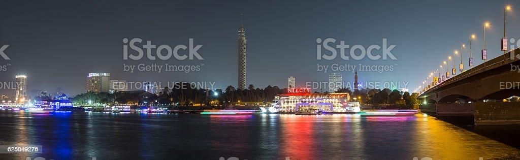 Central Cairo night panoramic long exposure. stock photo