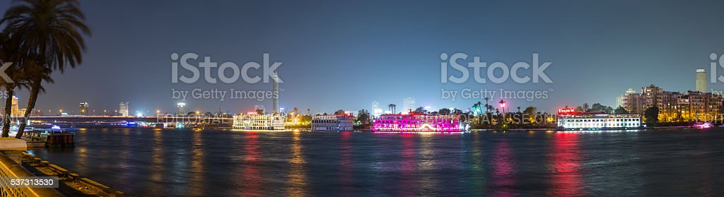 Central Cairo Nile river night panoramic stock photo