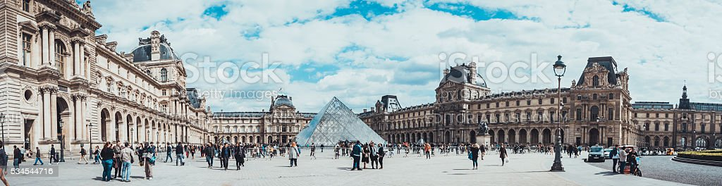 Central court of the Louvre. stock photo
