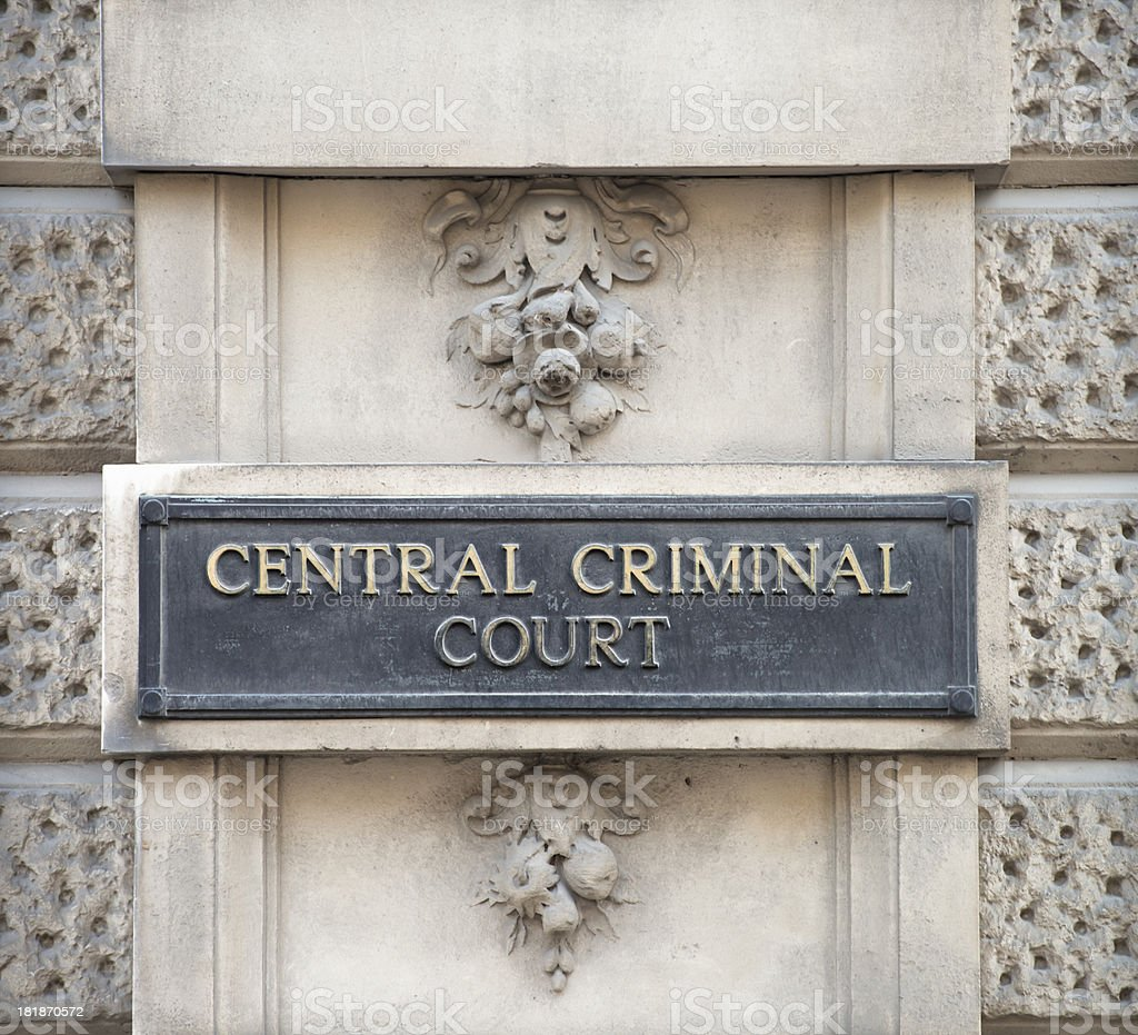 Central Criminal Court Sign in London stock photo