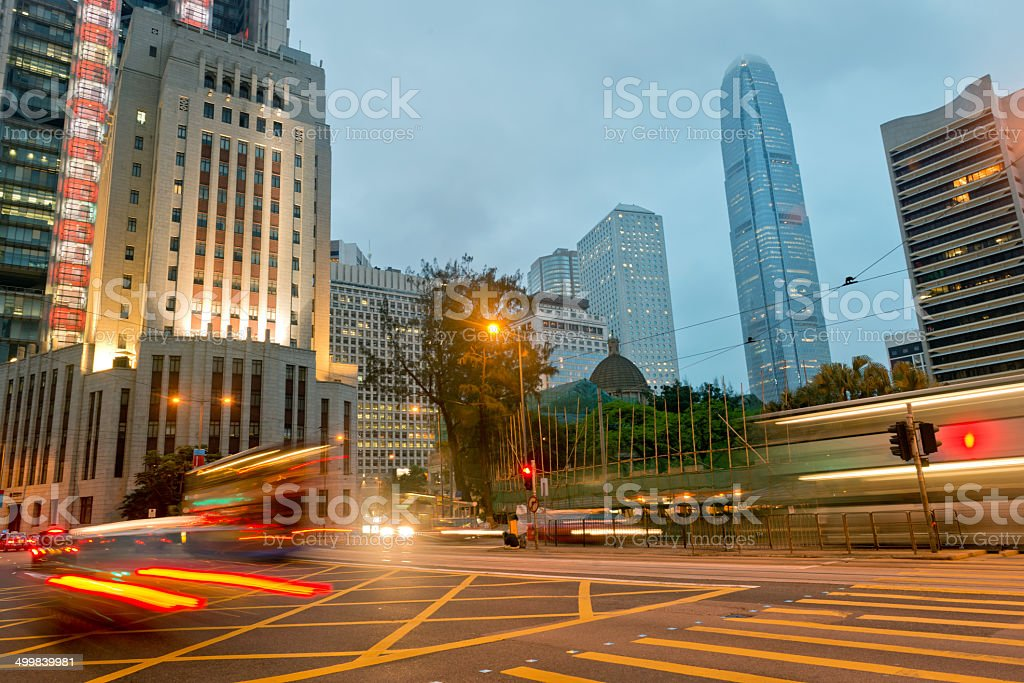 Central District in Hong Kong at Night, Asia stock photo