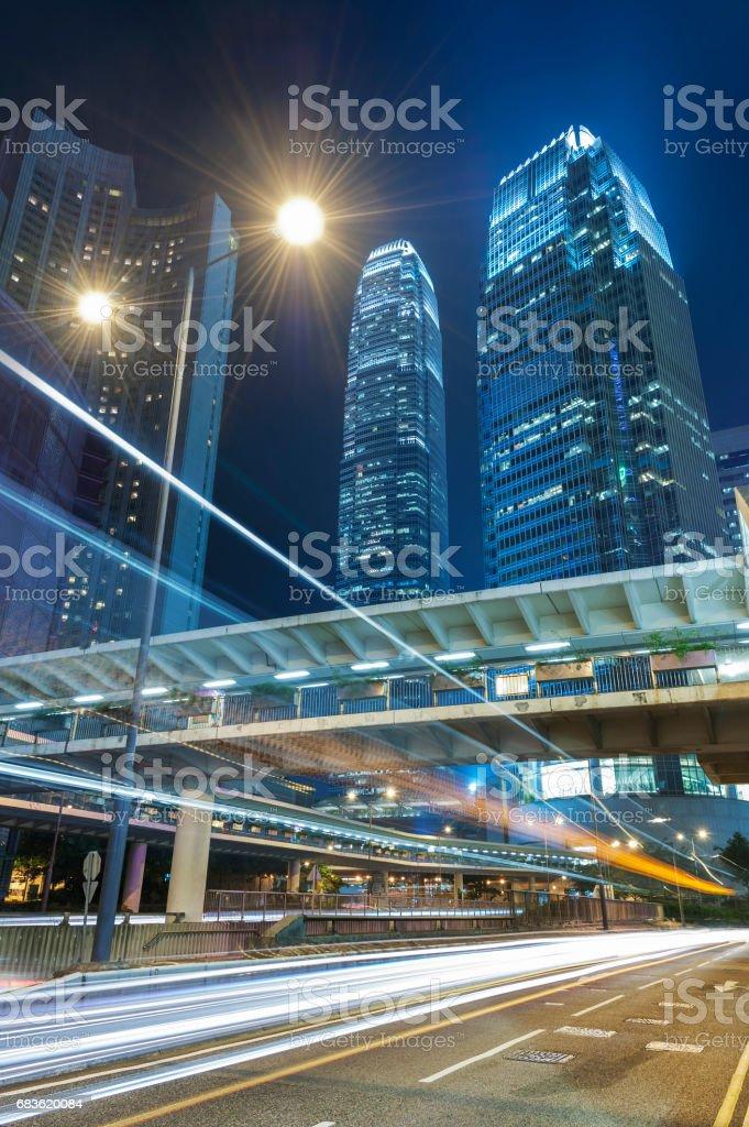 Central district of Hong Kong city at night stock photo