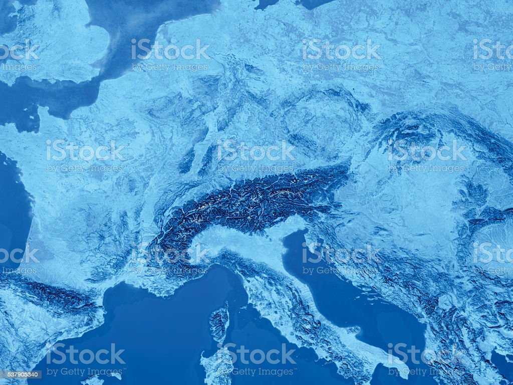 Central Europe Alps Topographic Map Blue stock photo
