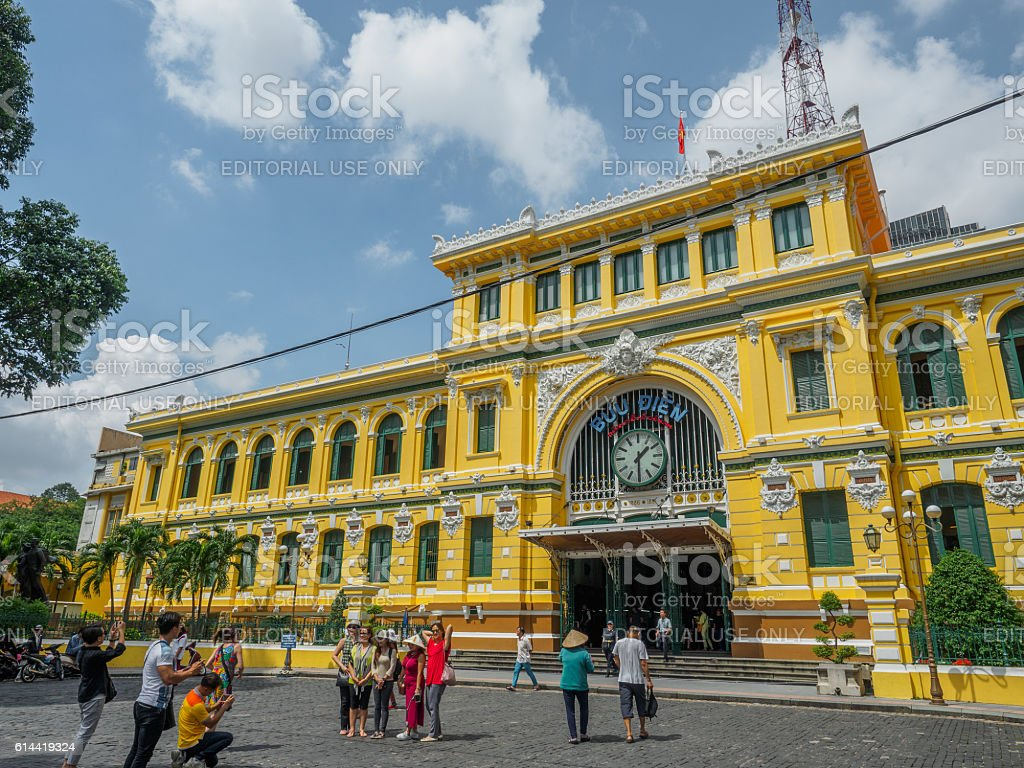 Central French colonial style post office in Ho Chi Minh stock photo