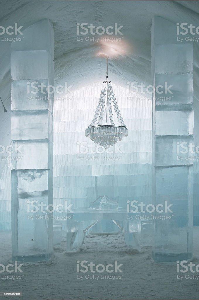 Central hall at Ice Hotel near Kiruna, Lapland, north Sweden stock photo
