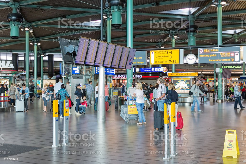 Central hall of Schiphol Airport, Amsterdam The Netherlands stock photo