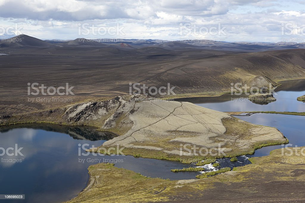 Central Highlands in Iceland lakes. landscape and reflection stock photo