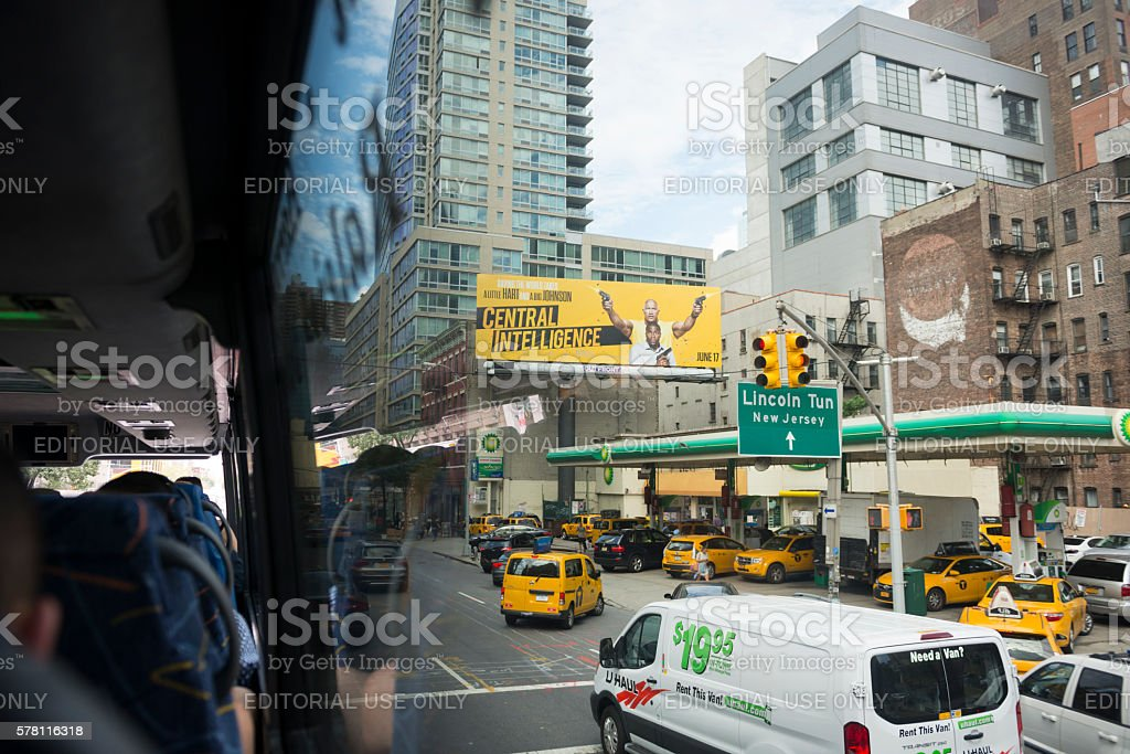 Central Intelligence movie billboard in New York City stock photo