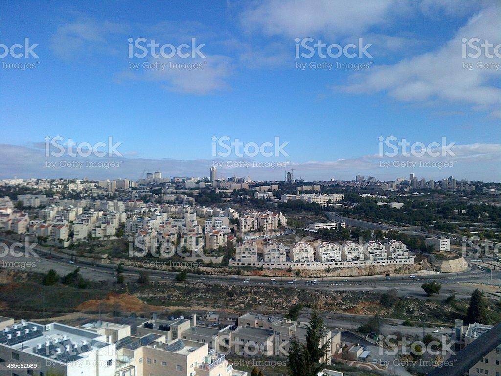 central jerusalem on a partly cloudy day stock photo