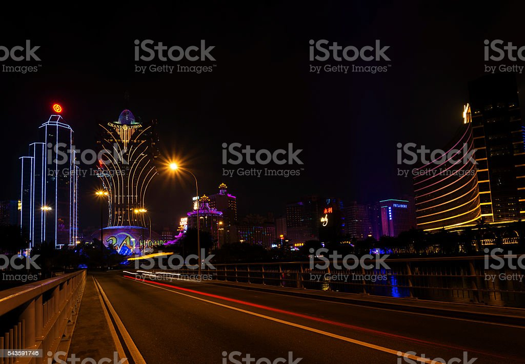central macau city casino skyline in macao china stock photo