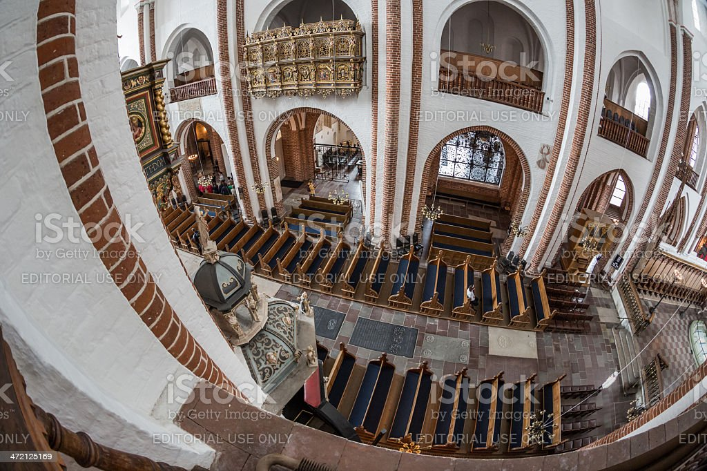 Central main ship of Roskilde Cathedral seen from the balcony stock photo