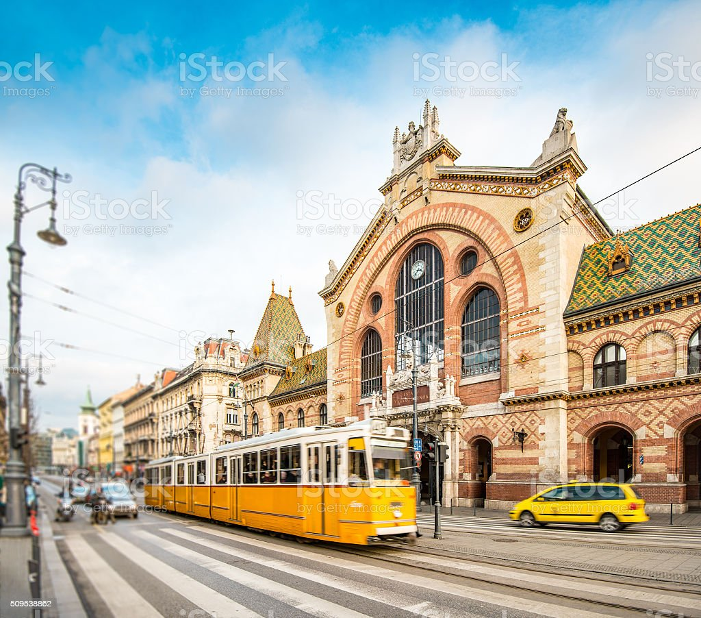 Central Market Hall, Budapest, Hungary, Europe. stock photo