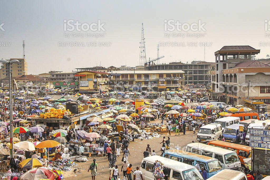 Central market Kejetia in Kumasi, Ghana stock photo