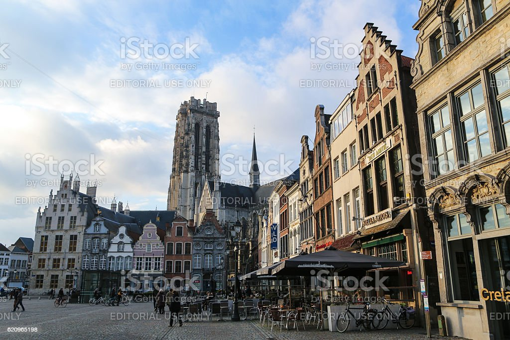 Central Market Square and Cathedral of Mechelen, Flanders, Belgium stock photo