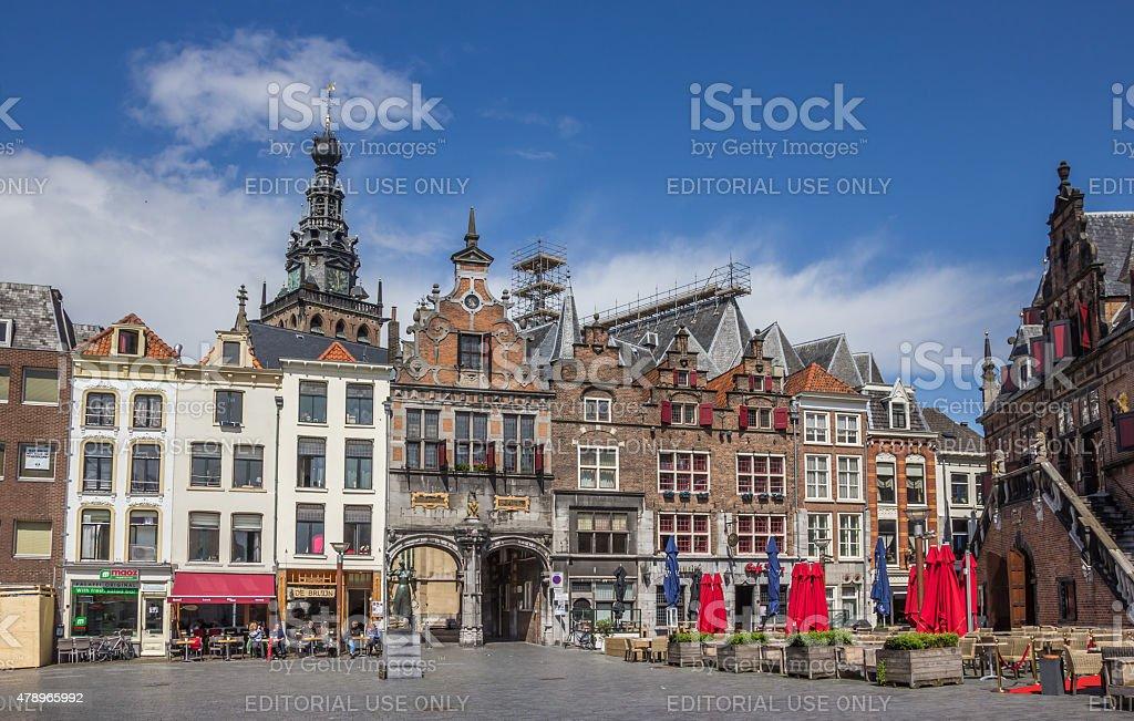 Central market square in Nijmegen stock photo