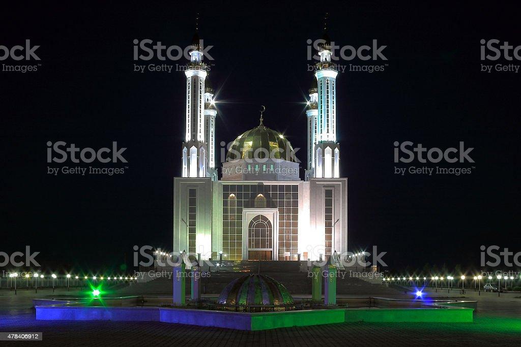Central Mosque Nur Gasyr in Aktobe (Kazakhstan) at night stock photo