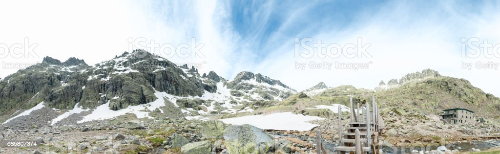 central mountain system with remains of snow stock photo