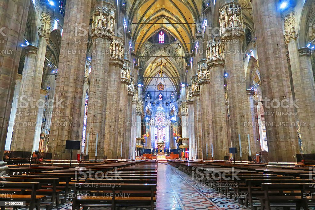 Central nave of the Duomo of Milan,Italy stock photo