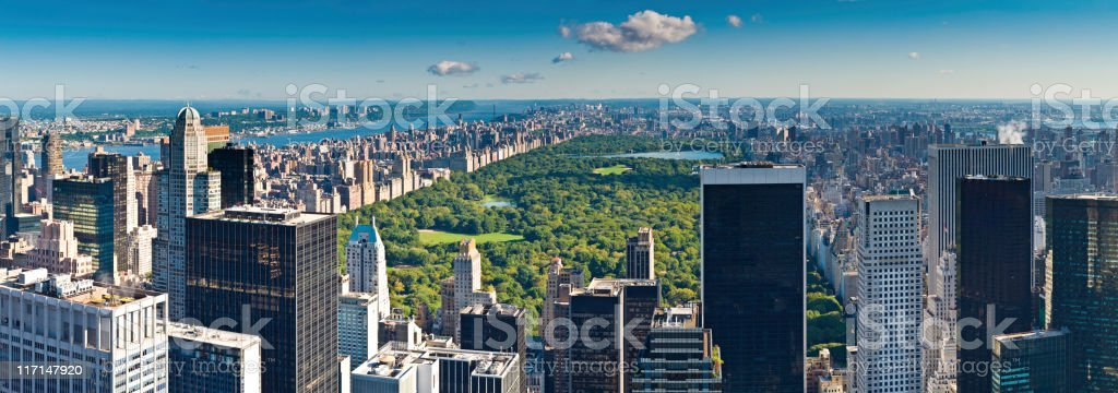 Central Park aerial panorama Manhattan skyscrapers Hudson River New York royalty-free stock photo