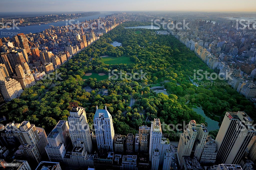 Central Park aerial view, Manhattan, New York stock photo
