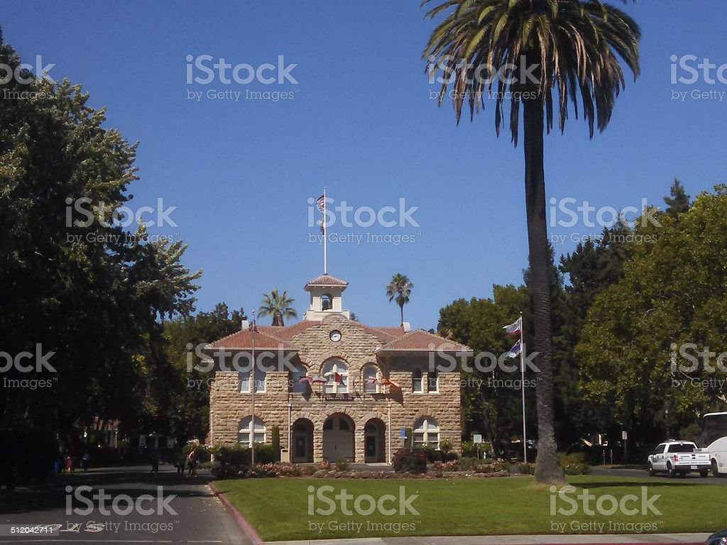 Central Park and Historic City Hall Sonoma County California stock photo