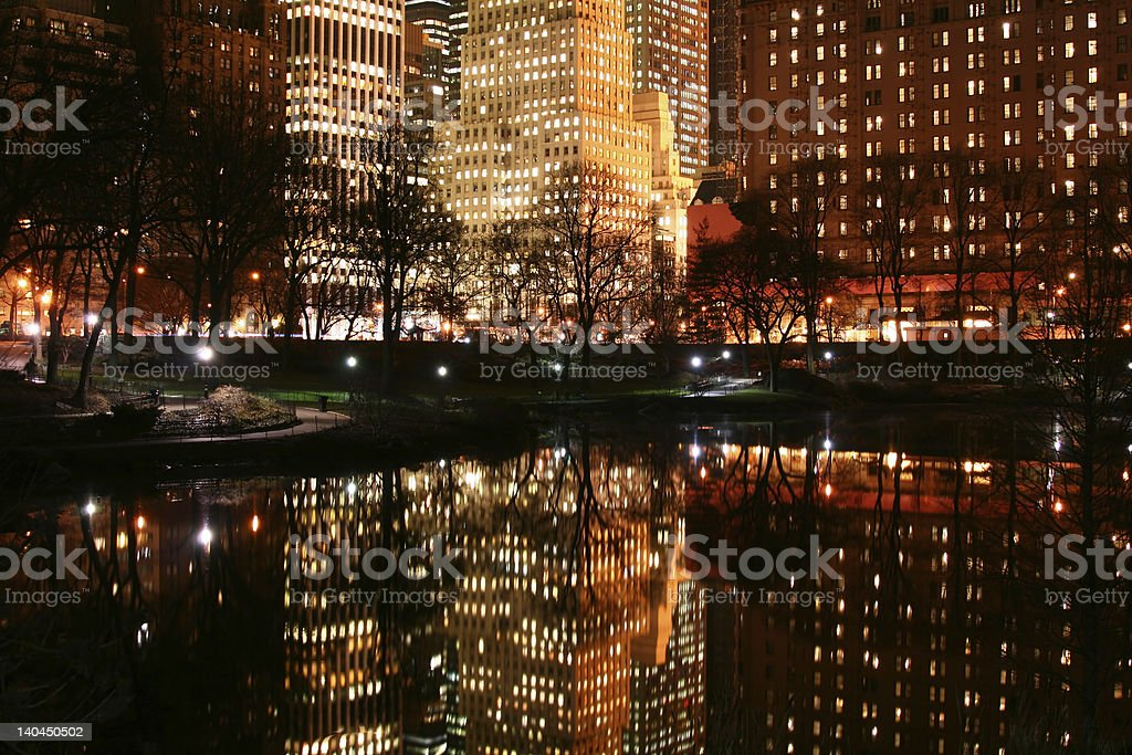 Central Park and manhattan skyline at Night, NYC royalty-free stock photo