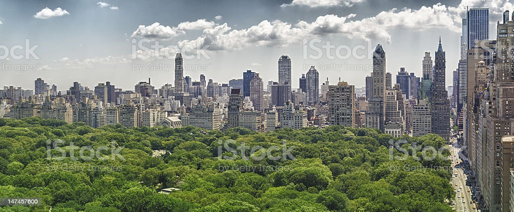 Central Park and Skyline from skyscraper office stock photo
