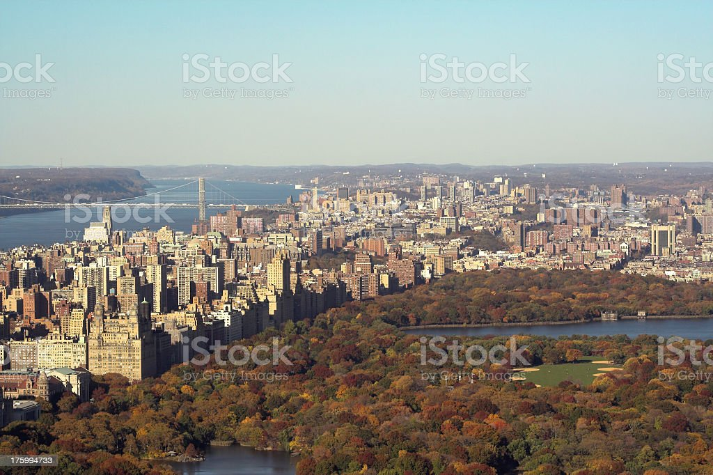 Central Park and Upper West Side Skyline royalty-free stock photo