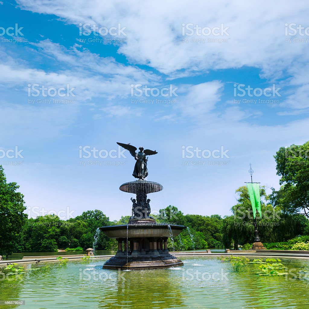 Central Park Angel of Waters fountain New York stock photo