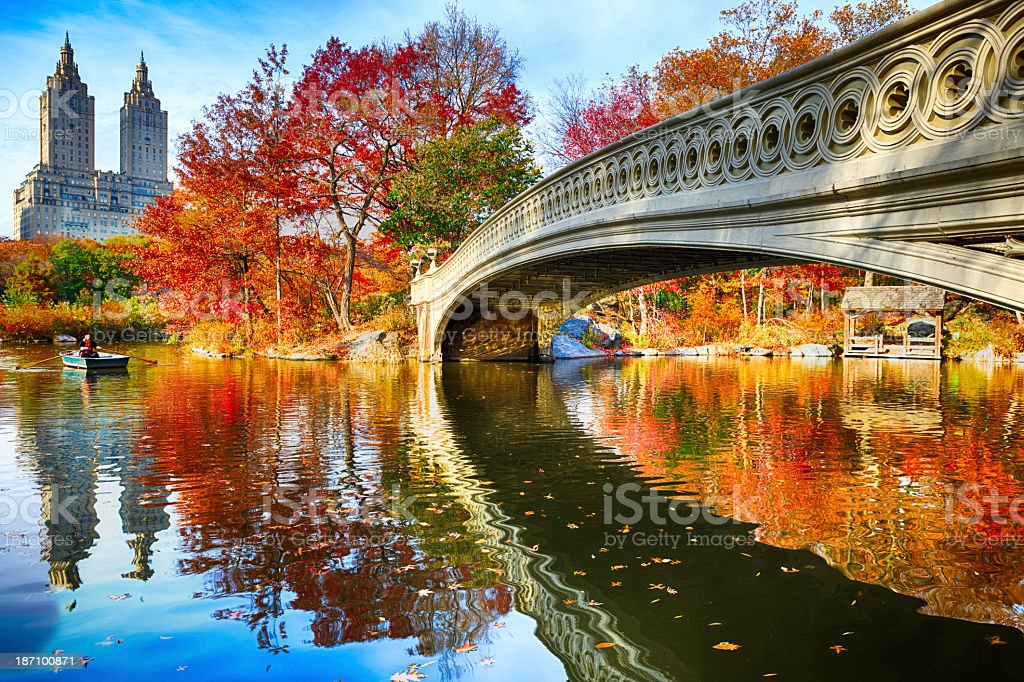 Central Park at autumn stock photo