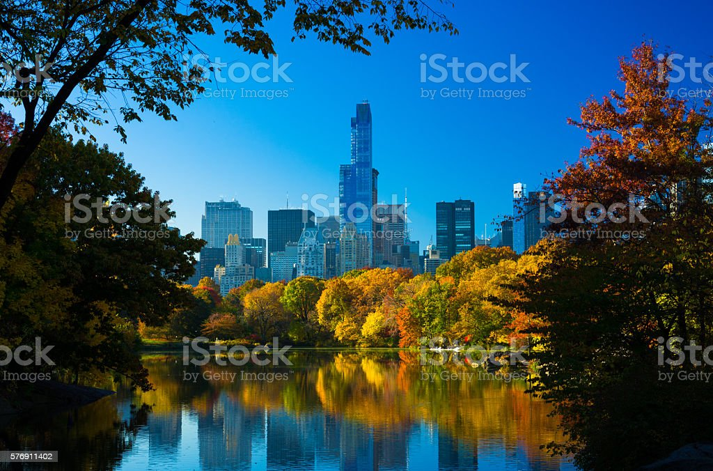 Central Park at Autumn Scene Framed with Trees and Lake stock photo
