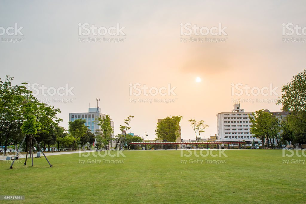 Central park at evening time, Japan. stock photo